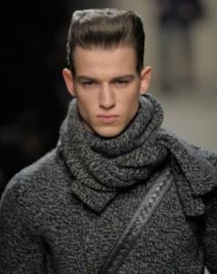 мужской шарф двойной узел
