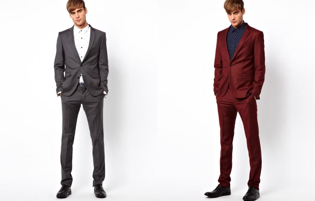 мужской костюм серый и бордовый
