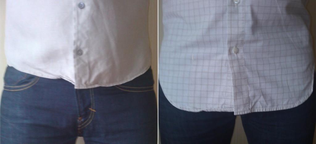 неправильная длина не заправленной рубашки