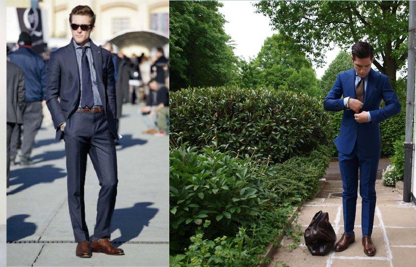 синий костюм с коричневыми ботинками