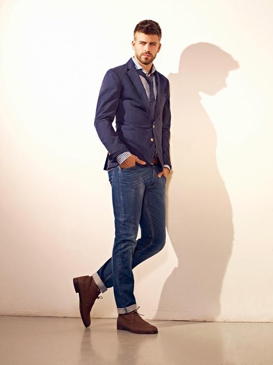 мужской пиджак с джинсами