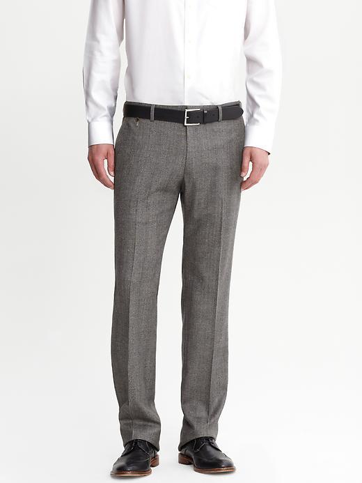 брюки из шерсти для мужчин banana republic