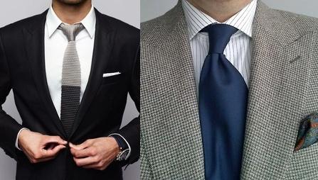 сочетание лацканов и галстука