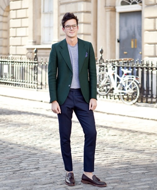 green jacket and pocket square