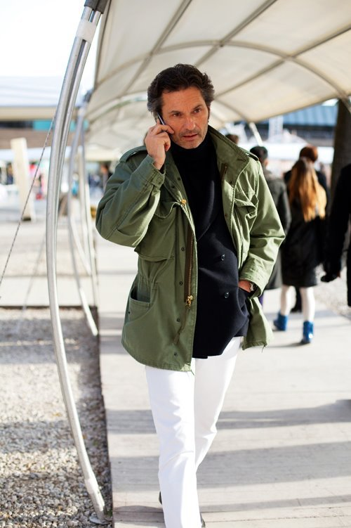 jacket olive white pants