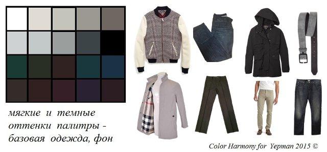 Мягкие и темные оттенки палитры - базовая одежда