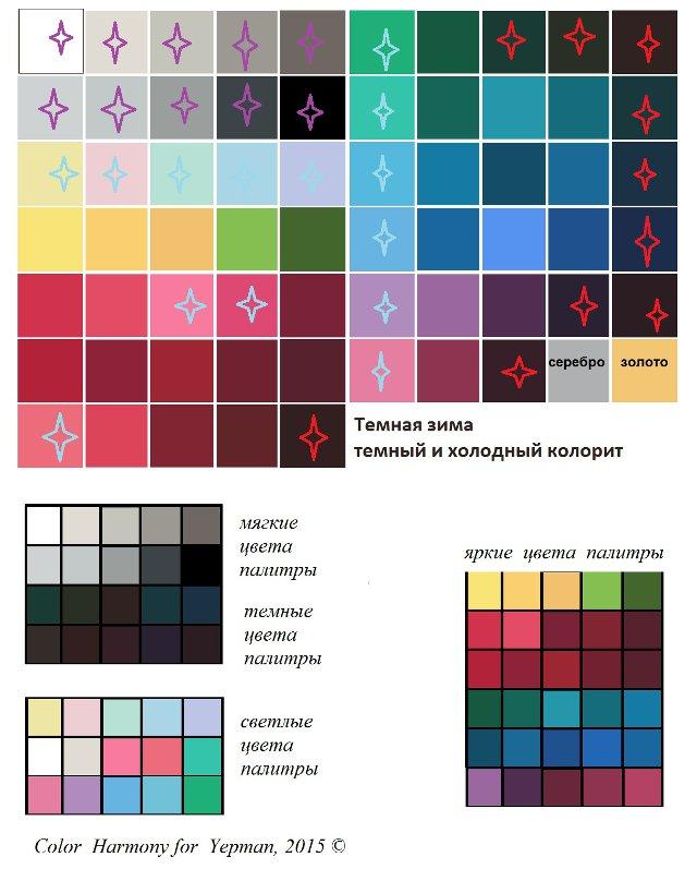 Темная зима - цветовые сегменты палитры