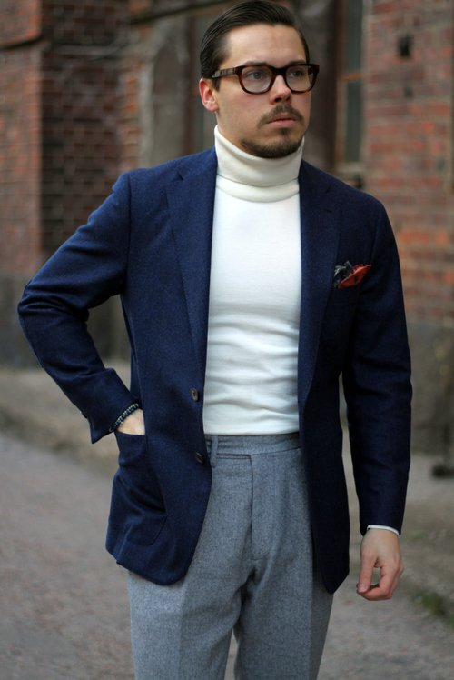 turtle neck sweater with jacket