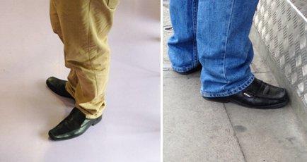 Сочетание брюк с черной обувью