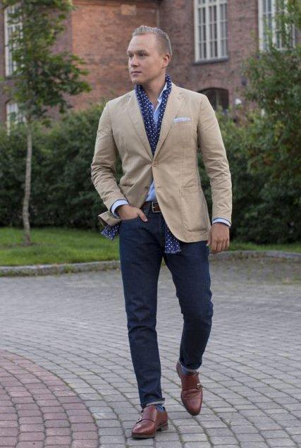 Тонкий шарф под пиджак