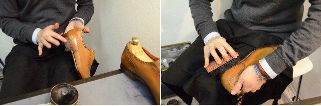 Обработка ребра подошвы и каблука гуталином и полировка жесткой щеткой