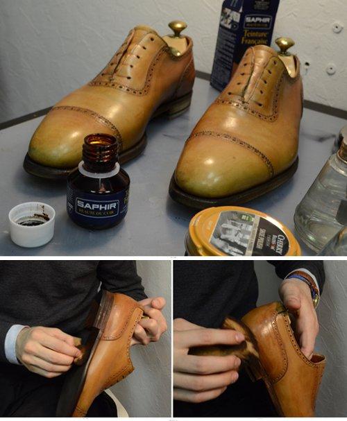 Окраска каблука и ребра подошвы