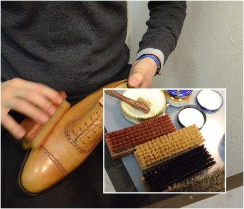 Полировка жесткой щеткой после пропитки кремом Сапфир