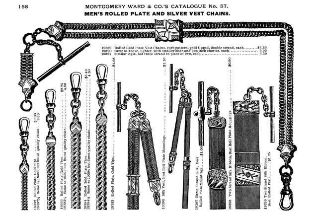 Раздел часовых цепочек из американского каталога товаров для заказа  почтой, 1895 г.