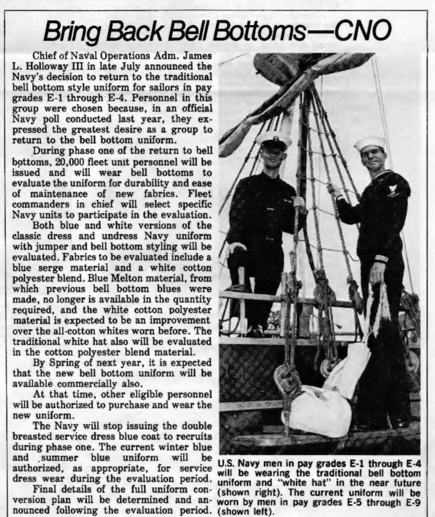 Заметка о возвращении клешеных брюк во флот
