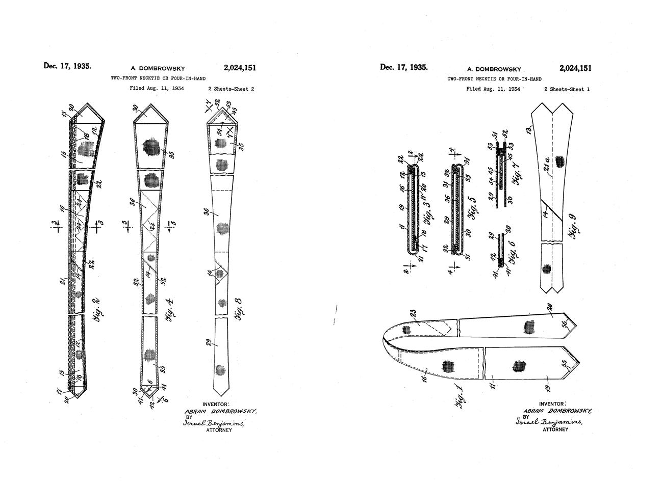 двусторонний галстук патент 1935 года