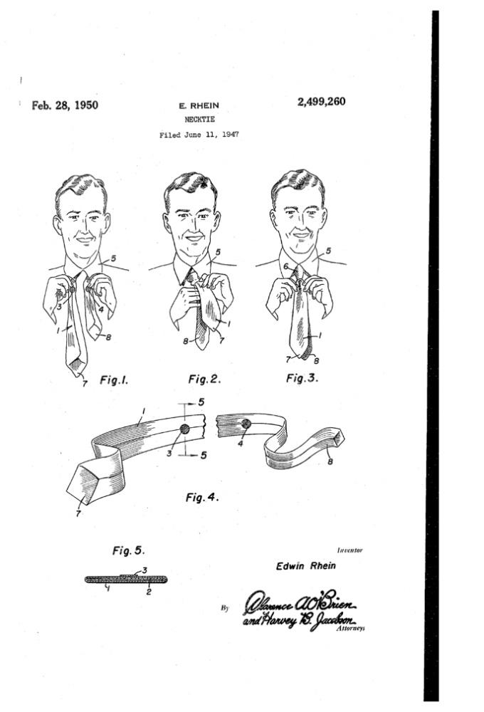 отметки для завязывания ровных концов галстука