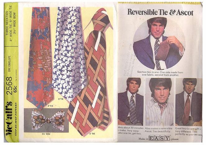 реклама двухсторонних галстуков 1970-е